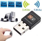 2.4GHz 5GHz computernetwerkkaart AC600Mbps USB Draadloze Antenne Dual Band Mini PC WiFi-adapter