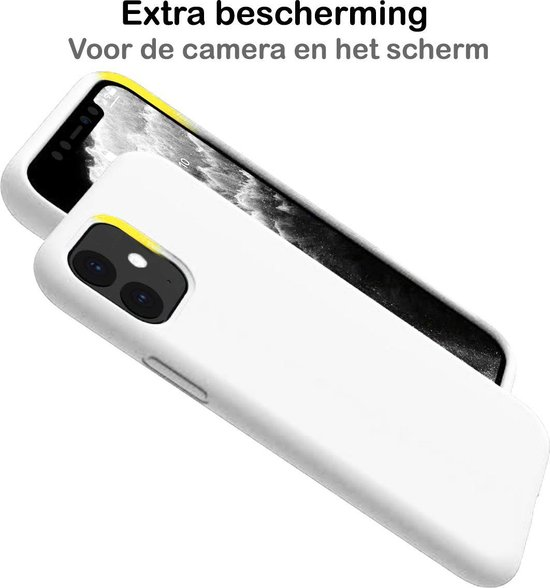 iPhone 11 Hoesje Siliconen Case Hoes Back Cover TPU - Wit