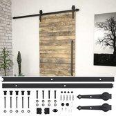 vidaXL Doos met onderdelen voor schuifdeur 200 cm staal zwart