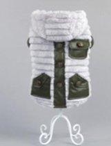 Stoere jas met zakken en muts in de kleur grijs