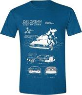 Back to the Future - Delorean Heren T-Shirt - Antique Sapphire- XL