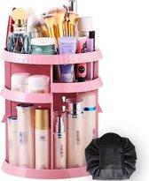 Aryos Draaiende Make-up organizer met Make-up Tasje en Ebook - Roze