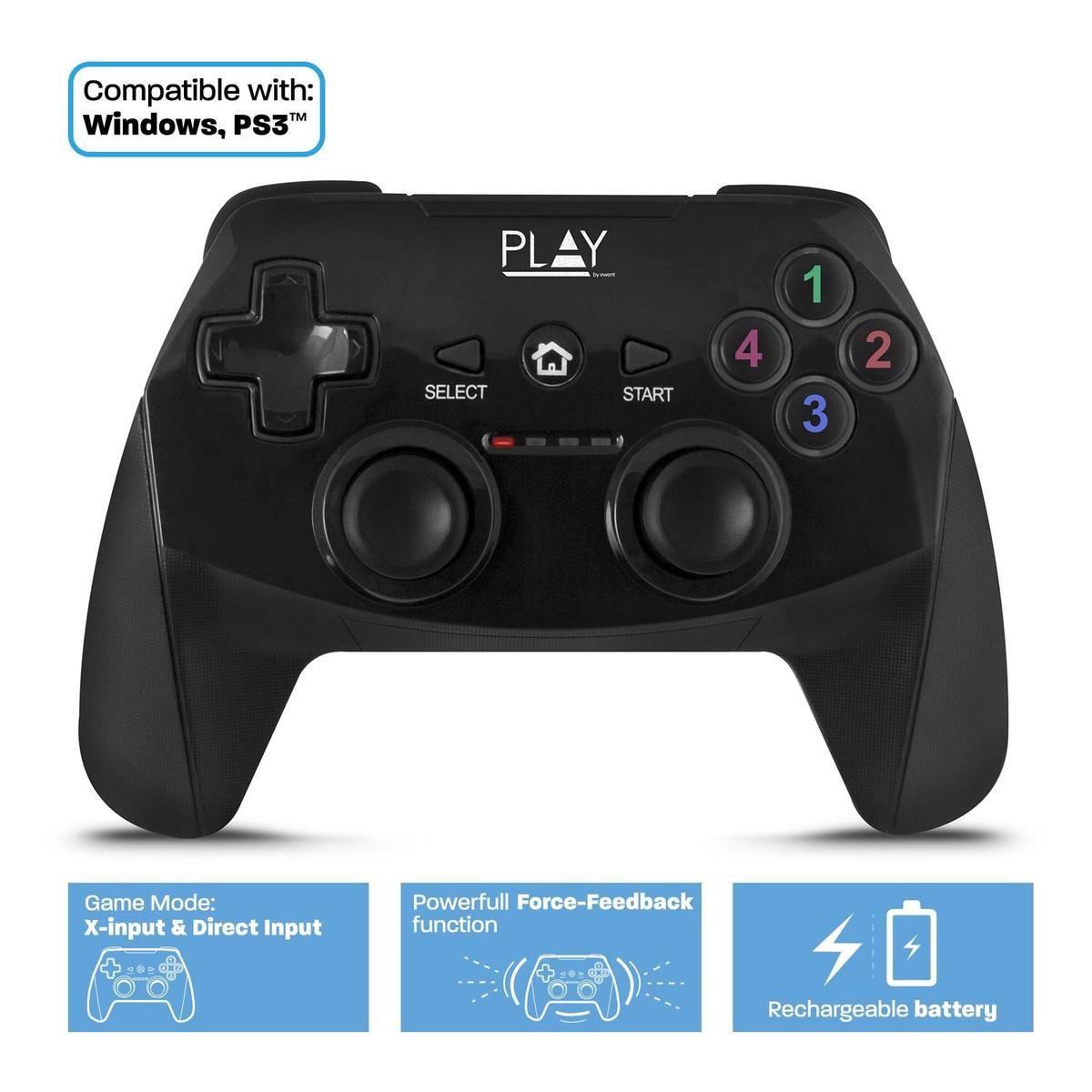 Play PL3331 game controller Gamepad PC,Playstation 3 Analoog/digitaal RF Zwart