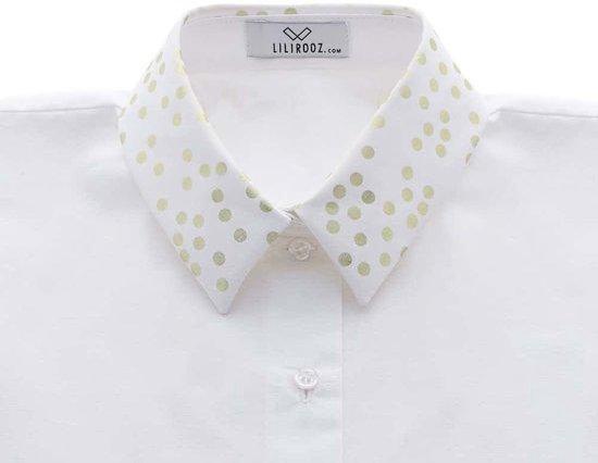 Los, wit recht kraagje voor dames met gouden bolletjesprint #S #Belgisch - Lilirooz.com