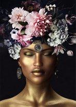 Glasschilderij - Vrouwelijk model -goudkleur, bloemen, schilderij fotokunst - foto print op glas - 80 x 120 cm
