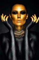Glasschilderij Fotokunst 'Vrouw' Goud/Zwart 80x120 Woonkamer/Slaapkamer