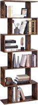 EKEO - Boekenrek van hout - staand rek voor demonstratie -  vrijstaande kast - decoratief rek met 6 niveaus