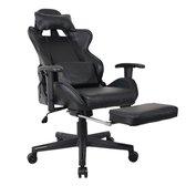 Gamestoel Thomas met voetsteun - bureaustoel racing stijl - verstelbaar - zwart