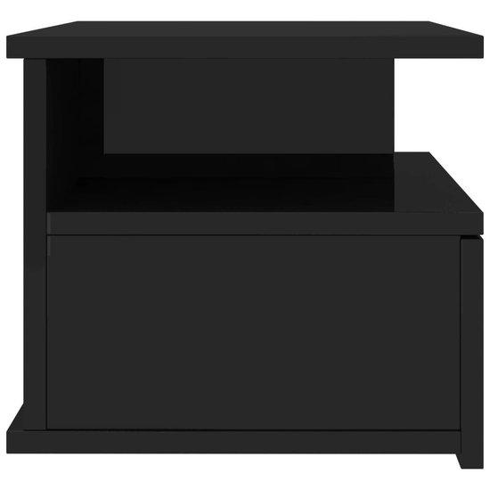 Nachtkastje zwevend - Spaanplaat - Hoogglans zwart - 40 x 31 x 27 cm - 2 st