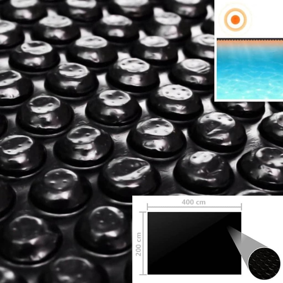 Zwembadhoes 400x200 cm PE zwart