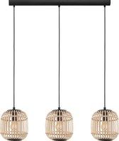 EGLO Bordesley Hanglamp - 3 lichts - 91 cm. - E27 - Zwart/rotan