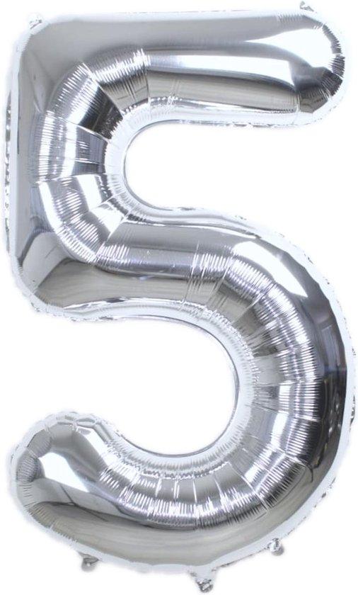Folie Ballon Cijfer 5 Jaar Zilver 86Cm Verjaardag Folieballon Met Rietje