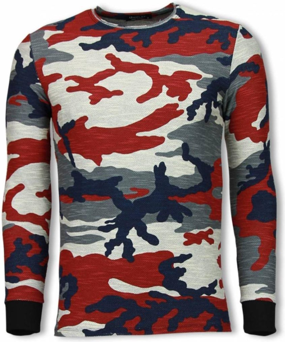 TONY BACKER Army Shirt Zipped Back - Long Fit Sweater - Camo - Maten: M