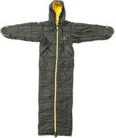 Bergstop slaapzak en jas in een Cozybag Classic - Zwart met Geel