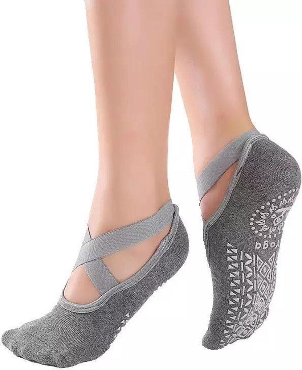 Yoga & Pilates sokken met antislip - 'Ballerina Yoga' - dichte tenen - grijs - Pilateswinkel - meerd