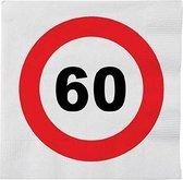 48x 60 jaar leeftijd themafeest servetten verkeersbord 33 x 33 cm - 60e verjaardag papieren wegwerp tafeldecoraties