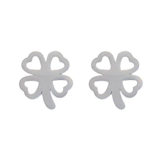 Fako Bijoux® - Oorbellen - Steker - RVS - Stainless Steel - Klavertje Vier