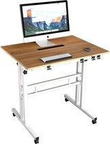 HN® Verstelbare Laptoptafel Op wielen   Draaibaar 80x60x67-115cm   Laptopstandaard met wielen   Laptop Statafel In Hoogte Verstelbaar   Notebook Standaard Houder bijzettafel voor bed bank