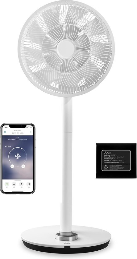 Duux Whisper Flex Smart Ventilator Wit incl. Dock & Accu Fluisterstil WiFi en App Energiezuinig