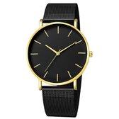 Vintage Mesh Horloge Zwart Goudkleurig