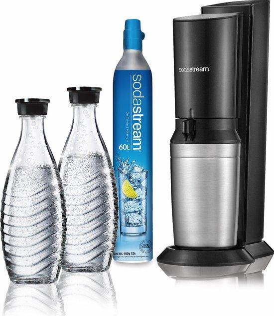 SodaStream Crystal Megapack Bruiswatertoestel - zwart/antraciet - met 2 Glazen karaffen