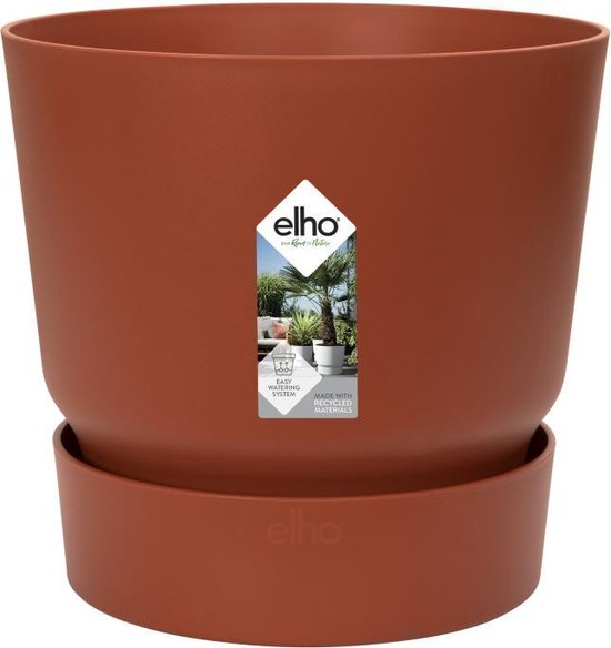 Elho Greenville Rond 25 - Bloempot - Brique - Buiten - Ø 24.48 x H 23.31 cm