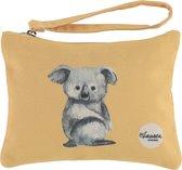 Lauren Sterk Amsterdam - canvas etui met rits - medium - koala - geel