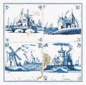 Thea Gouverneur - Borduurpakket met telpatroon - 484 - Voorgesorteerde DMC Garens - Delfts Blauwe Tegels Dorpjes - Linnen - 28 cm x 28 cm - DIY Kit