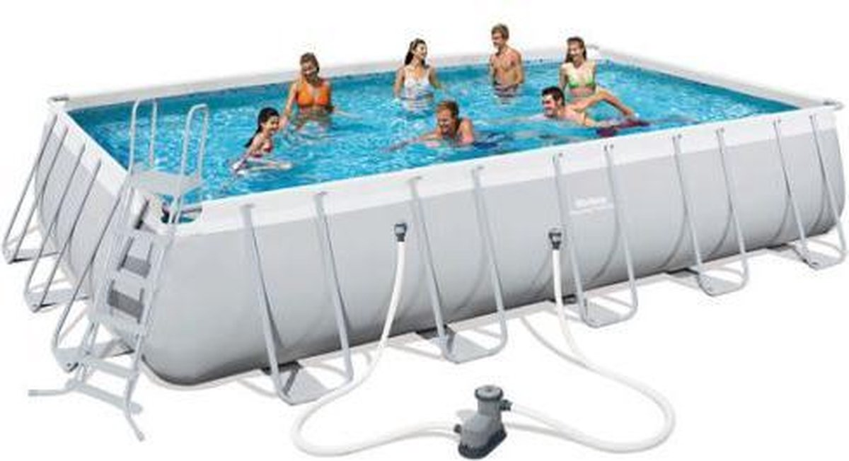 Bestway zwembad 7,32 m x 3,66 m x 1,3 m diep steel rechthoek frame