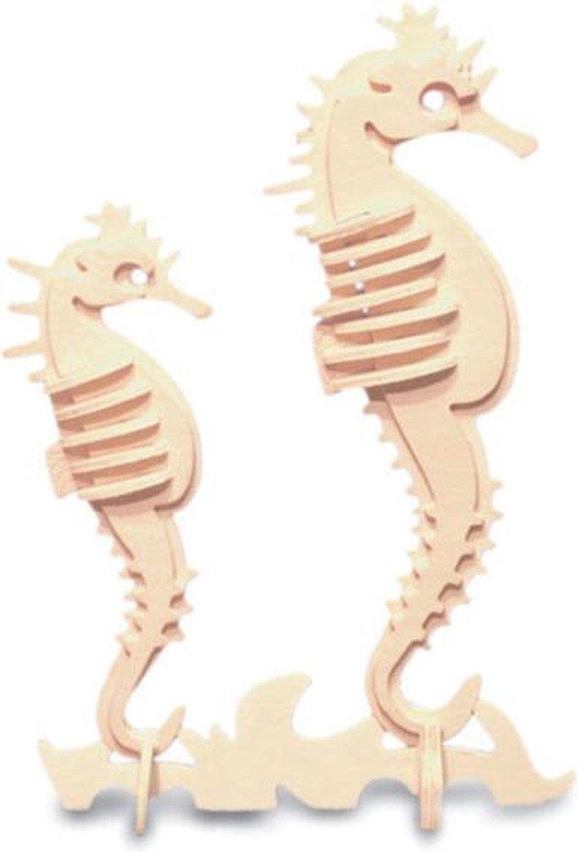 Bouwpakket 3D Puzzel Zeepaardjes - hout
