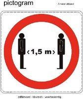 Sticker houdt 1,5 meter afstand (Corona maatregelen) 10x10 cm