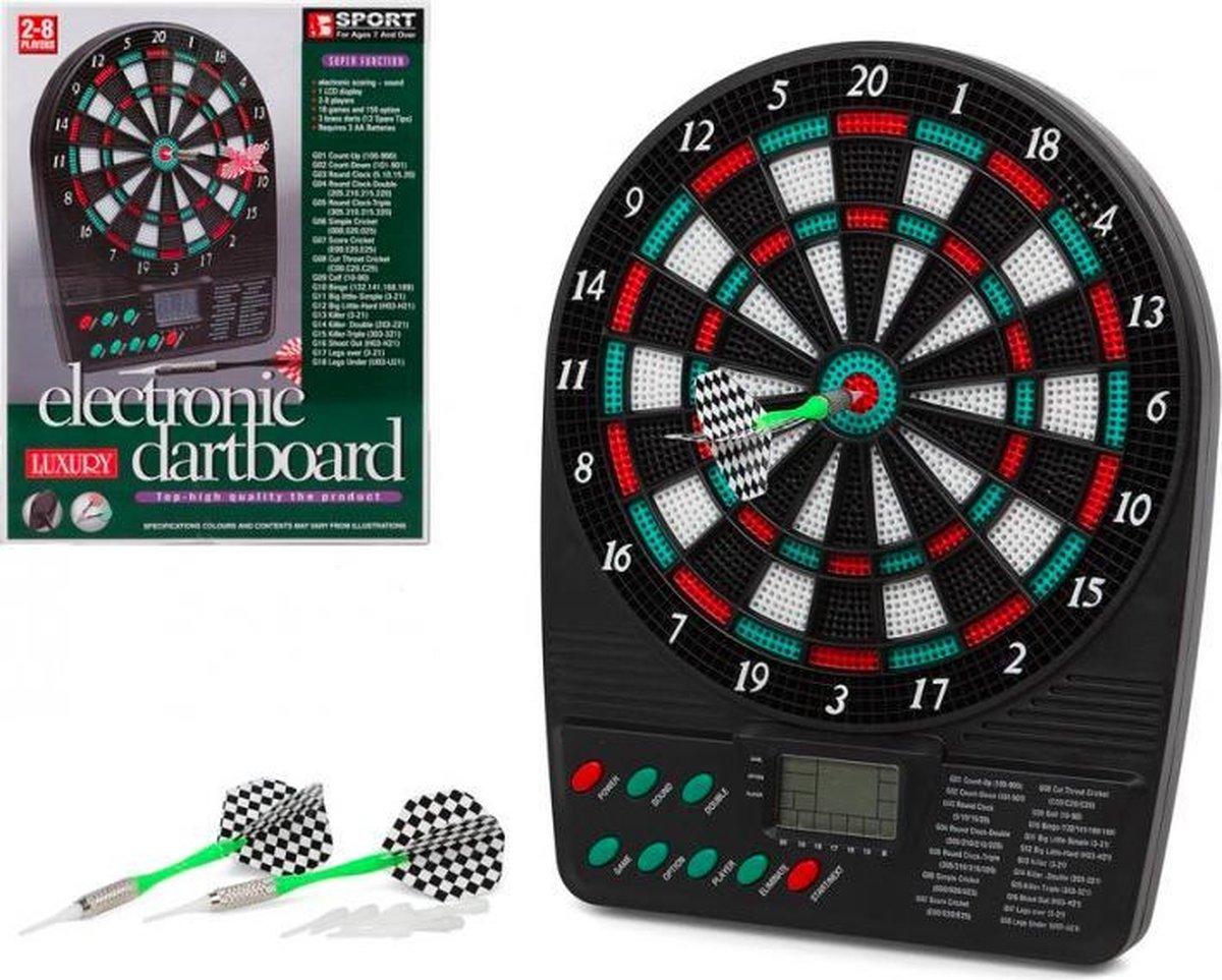 Luxury Elektrisch Dartbord | 2 - 8 personen | Inclusief 3 Dartpijlen en Reservetips | 18 Dartspellen |