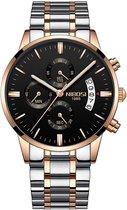 NIBOSI - Heren horloge - Luxe zilver zwart roségoud design - Ø 42 mm - Roestvrij staal