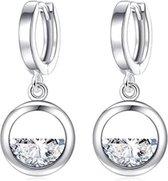 422 - Oorbellen met half steentje - Zilveren oorbellen - Zilveren oorhangers - Zilveren oorbel met hanger