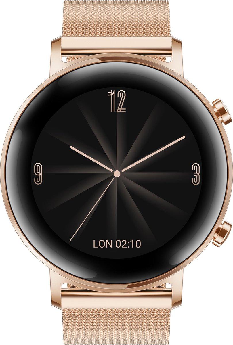 Huawei Watch GT 2 - Smartwatch dames - Metalen band - 42 mm - Rosegoud