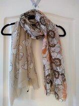 Gebloemde sjaal in de kleuren bruin en beige
