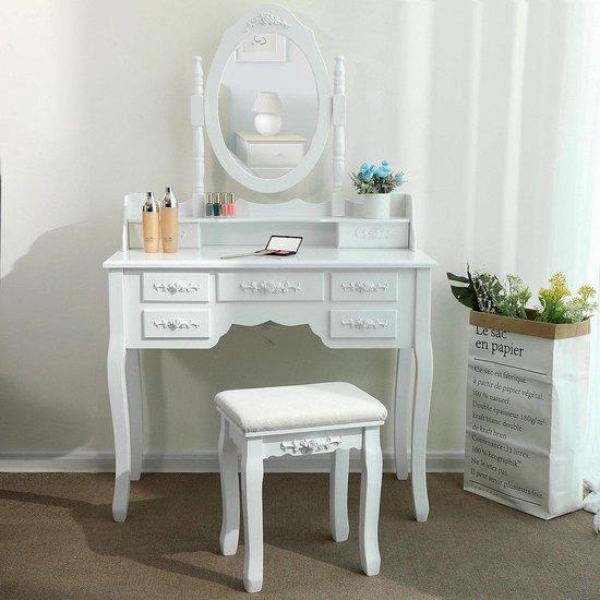 Hedendaags bol.com | Kaptafel – Make Up – Visagie – Opmaaktafel met spiegel GZ-45