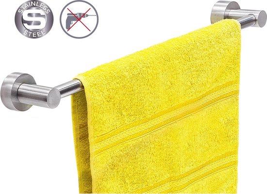 Zelfklevende Handdoekstang - WC/Toilet/Keuken/Badkamer Handdoek Haak Rek Stang Houder - Hangende Wand Theedoek / Handdoek Klem Houder - Zonder Boren & Schroeven - 40 CM RVS - FOLK