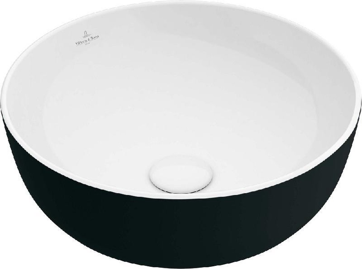 Villeroy & Boch Artis opzetwastafel rond 43 cm zonder kraangat zonder overloop CeramicPlus, coal black