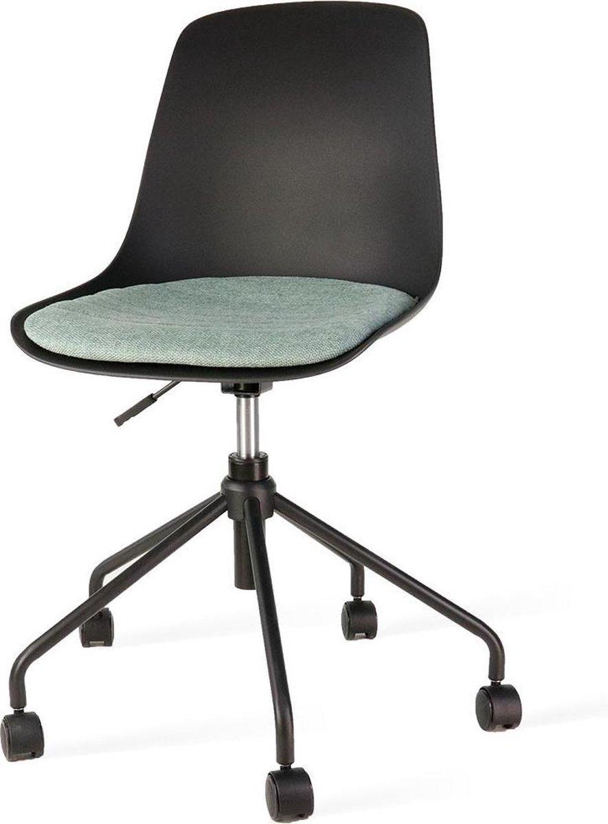 Nolon Nout bureaustoel zwart - Zwarte zitting en zacht groen zitkussen