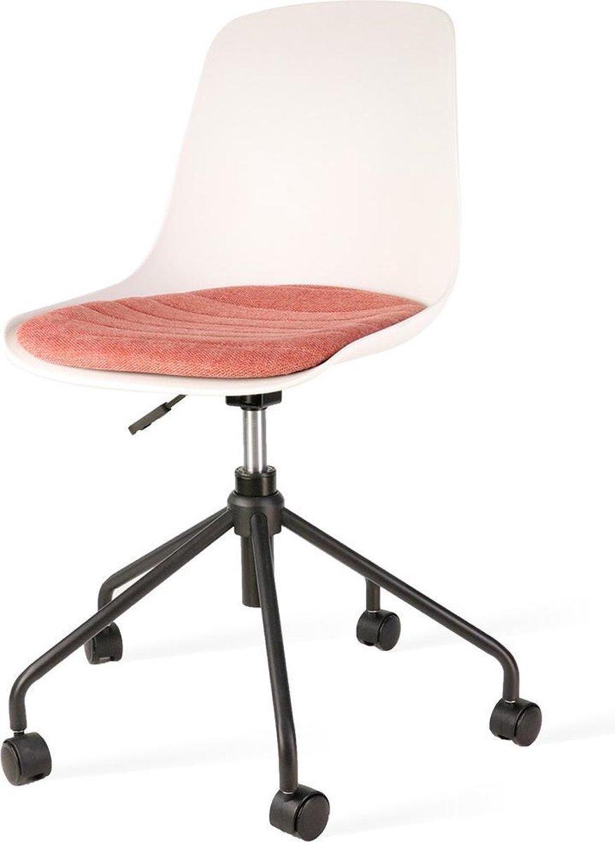 Nolon Nout bureaustoel zwart - Witte zitting en terracotta rood zitkussen