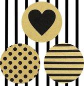 45x Stickers / Sluitstickers / Cadeaustickers / Sticker Set | 30 mm | Hartjes, Polkadots en Strepen