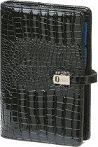 Kalpa 1111-61 Personal (Standaard) organizer gloss croco zwart - 2020 2021 2022