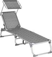 Ligstoel, verstelbare stoel om te zonnen, opvouwbaar, 55 x 193 x 31 cm, draagt tot 150 kg - vogelpatroon, grijs