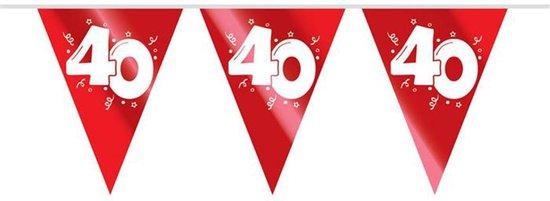 """2x Vlaggenlijn Metallic Robijn Rood """"40"""" 10M"""