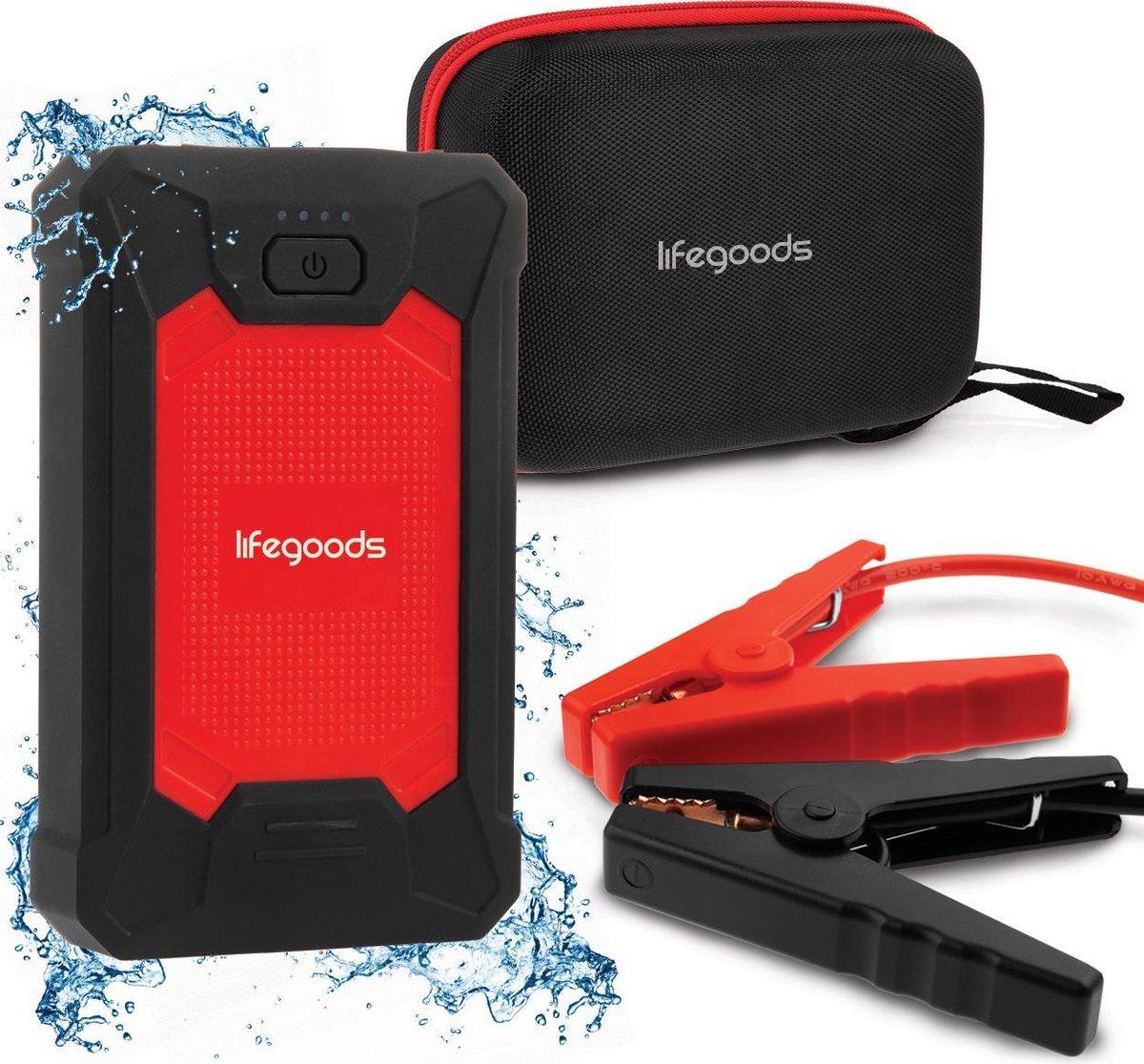 LifeGoods 12V Jump Starter - 600A - 4-in-1 Starthulp, Powerbank, LED Zaklamp en SOS Noodlicht - Rood
