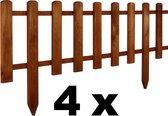 Floranica® 4 x voortuinhek gemaakt van hout, weerbestendig geïmpregneerd - insteekhek, minihek, Fries hek, decoratief hek als tuinhek, houten hek, kleur: bruin, afmeting: 40 cm hoog. 4x105 cm lang