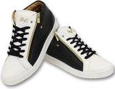 Cash Money Heren Sneaker - Bee Black White Gold 2- CMS98 - Zwart/Wit - Maten: 42