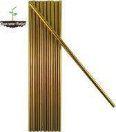 Roestvrijstalen rietjes  goud | 8 st. recht | RVS rietjes | Herbruikbare rietjes | Metalen rietjes | Plastic vervanger | Duurzame Rietjes | Gratis verzending | Incl. schoonmaakborstels | Gouden rietjes