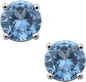 Oorbellen Dames - Zilver -  Zirkonia  - Aqua - 4 mm -  Oorknoppen - Chaton - Briljant Geslepen - Sieraden Vrouw - Gerhodineerd - -Zilver 92
